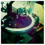 The master disc being cut at the studio